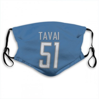Detroit Lions Jahlani Tavai Jersey Name and Number Face Mask - Blue
