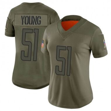 Women's Nike Detroit Lions Juwon Young 2019 Salute to Service Jersey - Camo Limited